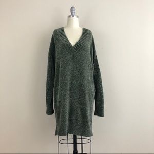 Express Green Chenille V-Neck Sweater Dress